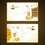 传染媒介名片用蜂蜜 免版税图库摄影