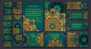 传染媒介名片集合 花卉坛场样式和装饰品 免版税库存照片