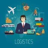 传染媒介后勤学经理代理概念 交付货物传染媒介服务例证 库存图片