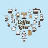 传染媒介咖啡具形状心脏 咖啡恋人集合 库存图片