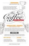 传染媒介咖啡菜单和餐馆设计 图库摄影