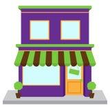 传染媒介商店前面或商店有窗口和标志的 免版税图库摄影