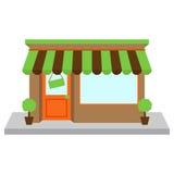 传染媒介商店前面或商店有窗口的 免版税库存照片