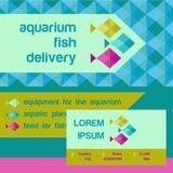 传染媒介商标和证明 商店水族馆鱼 免版税库存图片