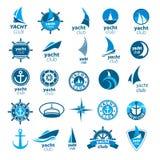 传染媒介商标小游艇船坞的汇集 库存图片