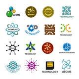传染媒介商标技术和原子的汇集 免版税库存图片