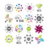 传染媒介商标Wifi连接 图库摄影