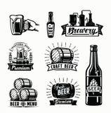 传染媒介啤酒徽章 库存图片
