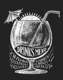 传染媒介喝在黑板的菜单 免版税图库摄影