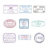传染媒介国际旅行护照集合的签证图章 免版税库存图片