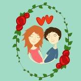 传染媒介图象男孩和女孩爱的 免版税库存照片