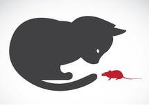 传染媒介图象的猫和鼠 免版税库存照片
