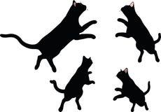 传染媒介图象-在白色背景在跳跃的姿势的猫剪影隔绝的 免版税库存图片