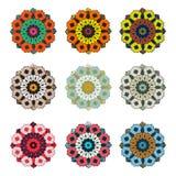 传染媒介圆的五颜六色的花葡萄酒集合 免版税库存照片