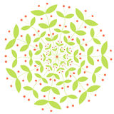 传染媒介圆的植物装饰品用红色莓果 免版税库存图片