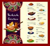 传染媒介土耳其烹调餐馆菜单模板  皇族释放例证
