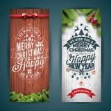 传染媒介圣诞快乐与印刷术设计的横幅例证和杉树在葡萄酒木头背景分支 库存图片