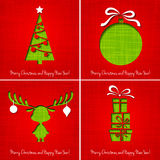 传染媒介圣诞快乐纸贺卡 库存图片