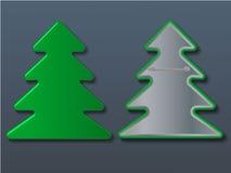 传染媒介圣诞树徽章 例证 免版税图库摄影