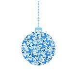 传染媒介圣诞树球蓝色蝴蝶 库存图片