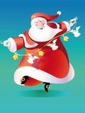传染媒介圣诞老人跳舞 免版税图库摄影