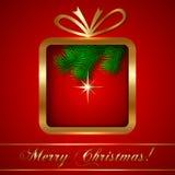 传染媒介圣诞节与礼物的贺卡 免版税库存图片