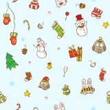 传染媒介圣诞节和新年无缝的样式 免版税库存照片