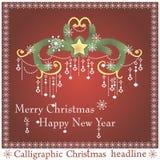 传染媒介圣诞节标题 免版税库存图片