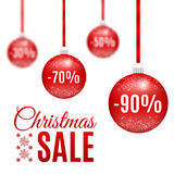传染媒介圣诞节红色销售球 库存照片