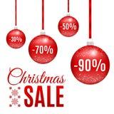 传染媒介圣诞节红色销售球 免版税库存图片