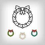传染媒介圣诞节花圈隔绝了象,装饰标志,线艺术样式 免版税库存图片