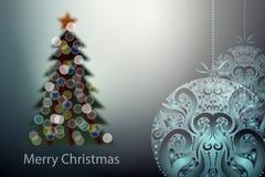 传染媒介圣诞节被弄脏的树和装饰球 免版税库存照片