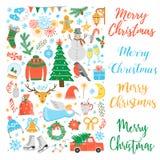 传染媒介圣诞节象集合 库存图片