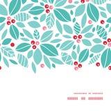 传染媒介圣诞节霍莉莓果水平的框架 免版税库存照片