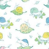 传染媒介在叶子无缝的样式的lineart蜗牛 免版税库存图片