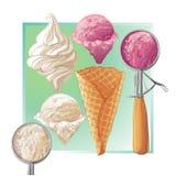 传染媒介在奶蛋烘饼锥体的冰淇凌 免版税库存图片