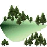传染媒介在山的多角形杉木 免版税库存图片