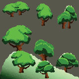 传染媒介在山的多角形树 免版税图库摄影