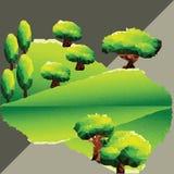 传染媒介在山的多角形树 免版税库存照片