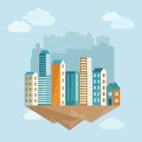 传染媒介在平的样式的城市概念 免版税图库摄影