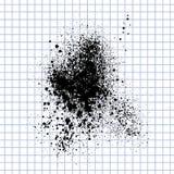 传染媒介在方格的纸的墨水污点 蓝墨水斑点飞溅 图库摄影