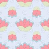 传染媒介在柔和的颜色的莲花样式 免版税库存图片