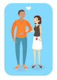 传染媒介在爱的动画片夫妇 免版税库存照片