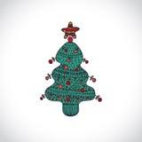 传染媒介在白色背景的圣诞树 库存图片