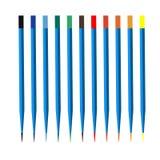传染媒介在白色背景的色的木铅笔 库存图片