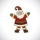 传染媒介在白色背景隔绝的圣诞老人 免版税库存照片