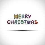 传染媒介在白色隔绝的圣诞快乐标签 库存图片