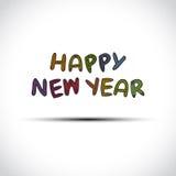 传染媒介在白色隔绝的新年快乐标签 免版税库存照片