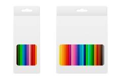 传染媒介在箱子的色的铅笔 免版税库存照片