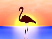 传染媒介在背景日落的剪影火鸟 向量例证